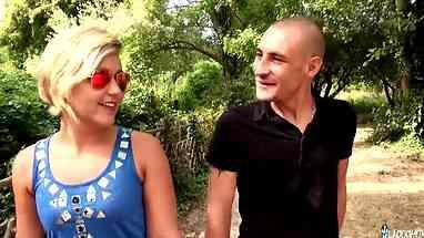 blond french girl with short hair made a blowjob and fucked