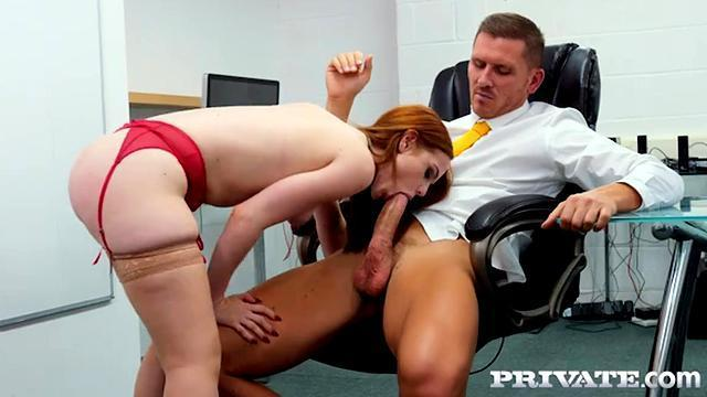 porn redhead slut in red shorts and white stockings on his feet.