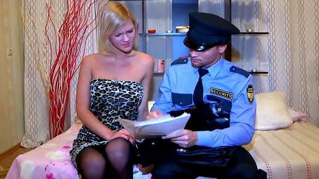 russian blonde with big boobs got sex with a cop