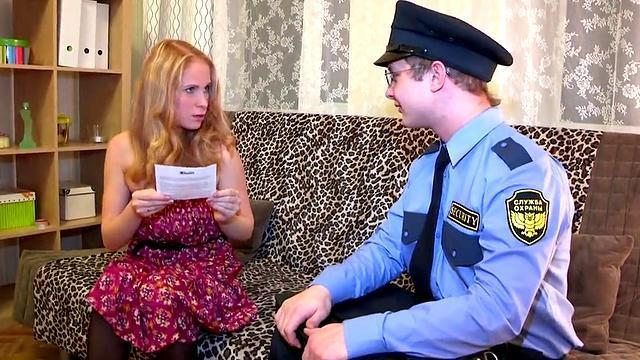 the policeman went to visit a russian blonde and fucked a chick in the ass