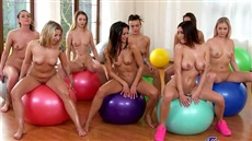 after sport the girls have arranged group sex and masturbation