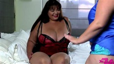 fat lesbian has decided to spank even more thick girlfriend