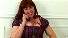 mature business lady janey climbed on the table and masturbating at work