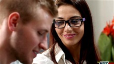 russian beautiful secretary in glasses cums with a young chief