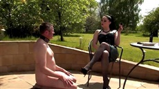 slave to the picnic ready to fulfill all desires of a drunk lady