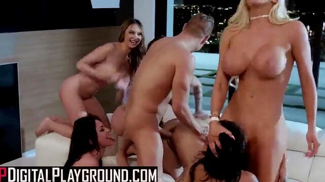 august taylor engaged in group anal sex with guys.