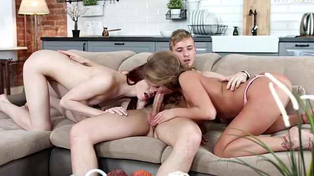beautiful gangbang young bitches hugging promiscuous guys