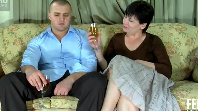 Mature Russian woman love hairy guy and fuck with him